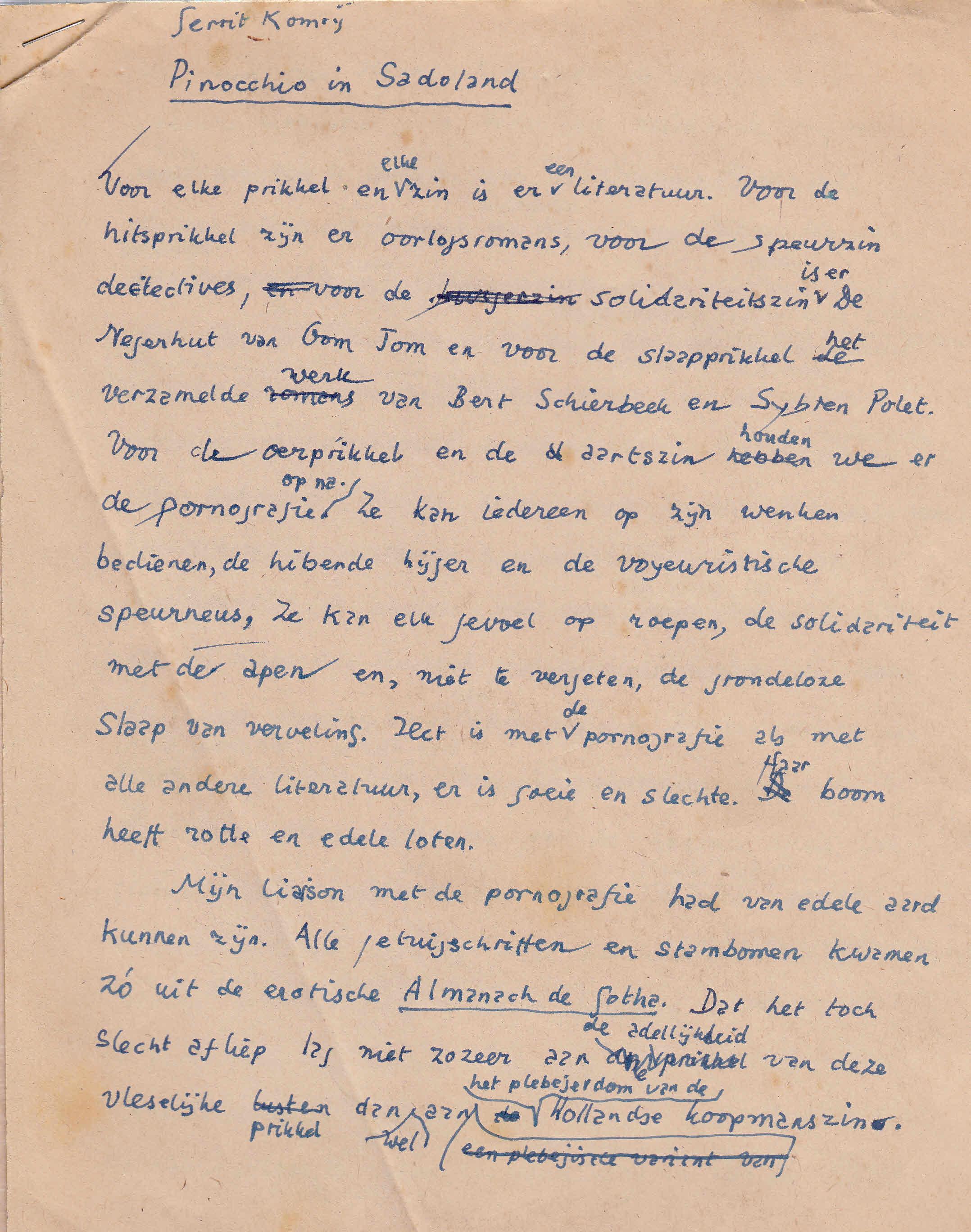 Gerrit Komrij - Pinocchio in Sadoland  - Gerrit Komrij Origineel handschrift