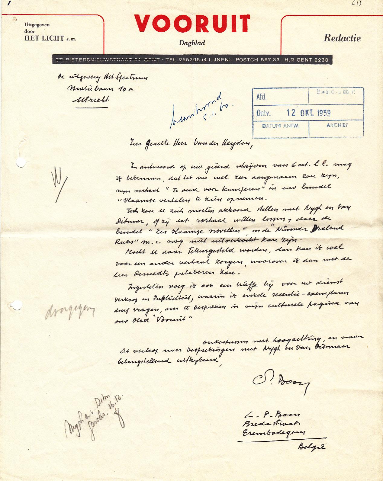 BOON, Louis Paul - L. P. Boon - 7 handgeschreven brieven aan Van der Heyden (Het Spectrum)