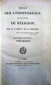 L'Abbé F. de la Mennais - Essai sur l'Indifférence en matière de Religion